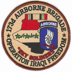 "173rd Airborne Brigade 4"" Operation Iraqi Freedom Patch"