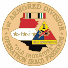 "1st Armored Division 1 1/8"" Operation Iraqi Freedom Lapel Pin"