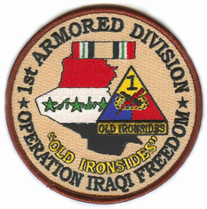 "1st Armored Division 4"" Operation Iraqi Freedom Patch"