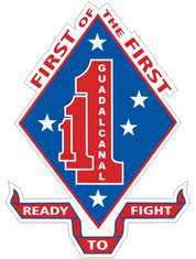 """1st Battalion 1st Marines Division """"First of the First"""" Decal Sticker"""