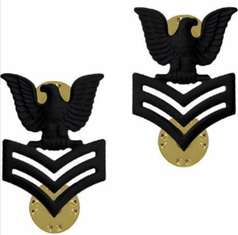 1st Class - E-6 - Regulation Collar/Cap Device Subdued Finish