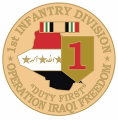 "1st Infantry 1 1/8"" Operation Iraqi Freedom Lapel Pin"