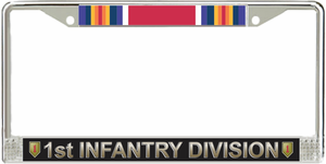 1st Infantry Division WW2 Veteran Service Ribbon License Plate Frame