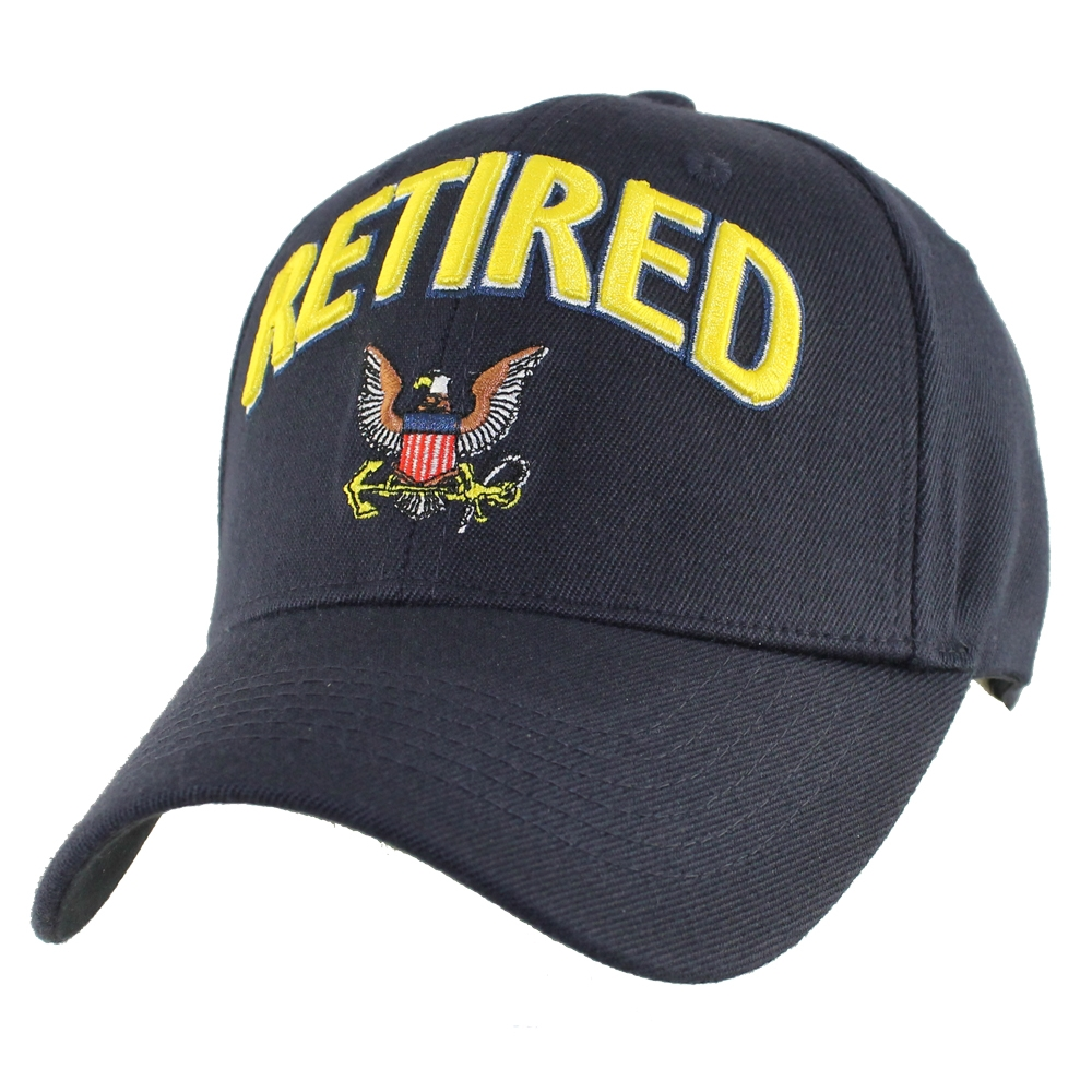 3d Navy Retired With Eagle Quot Stretch Fit Quot Ball Cap