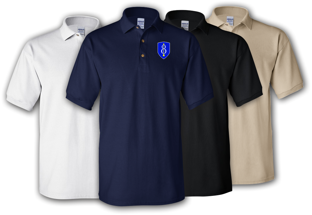 8th Infantry Division (Airborne) Embroidered Cotton Polo Shirt -4061 YnOcXFQ