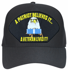 'A Patriot Believes It ... A Veteran Lived It' with Korea Ribbon Ball Cap