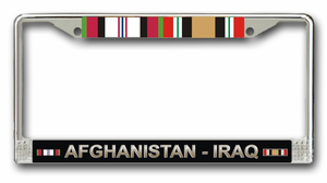 Afghanistan Iraq Campaign With Ribbons License Plate Frame