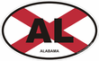 Alabama Oval Decals Stickers