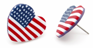 American Flag Heart Earrings