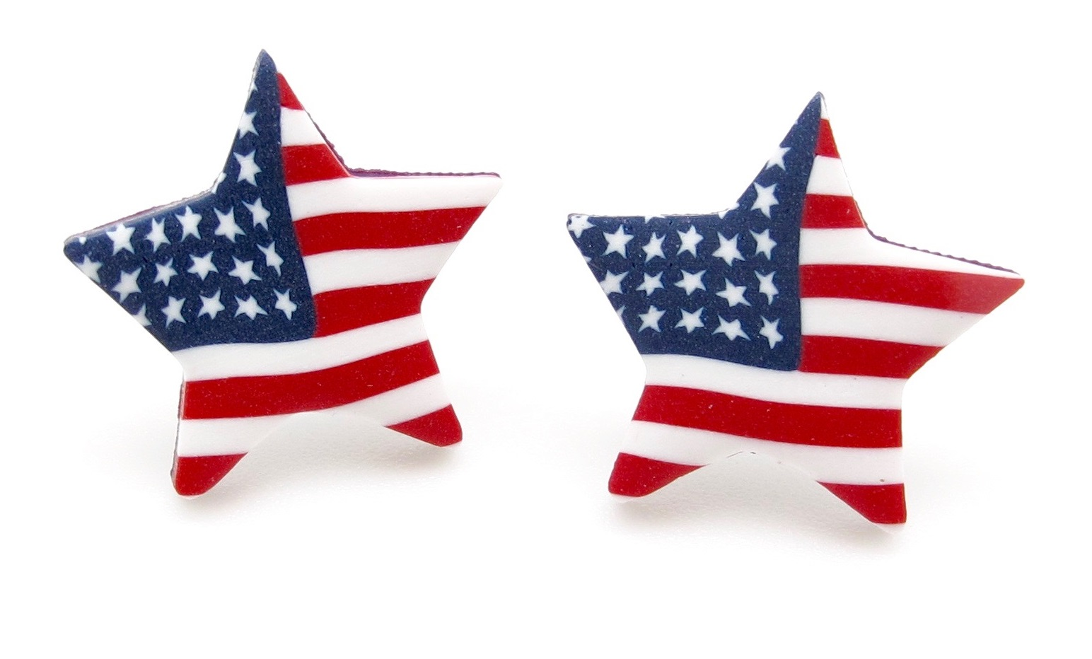 american flag small star earrings