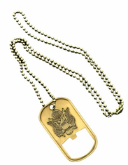 Army Gold Bottle Opener Dog Tag