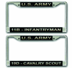Army MOS License Plate Frames<font color = red><br> MADE IN USA!</font color>