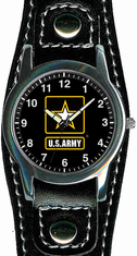 Army Watch with Leather Strap
