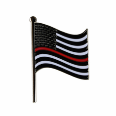 "American Flag ""Thin Red Line"" Lapel Pin"