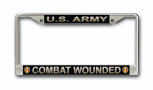 'Combat Wounded' U.S. Army Purple Heart License Plate Frame