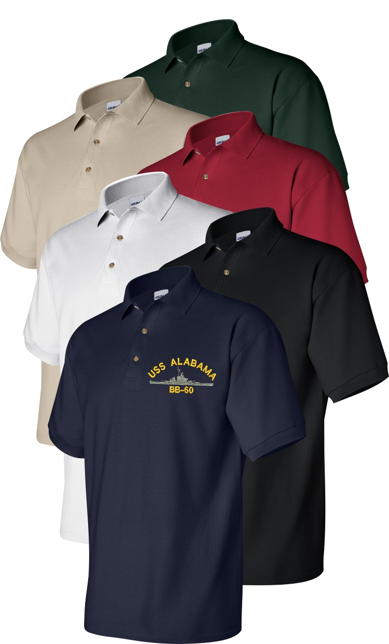 custom embroidered navy ship insignia polo golf shirts
