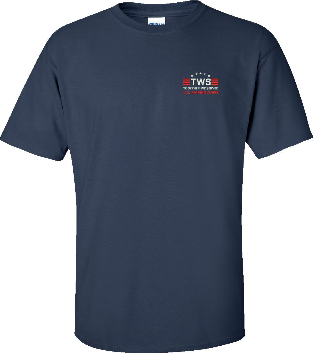 Custom embroidered together we served u s marine corps t for Custom boat t shirts