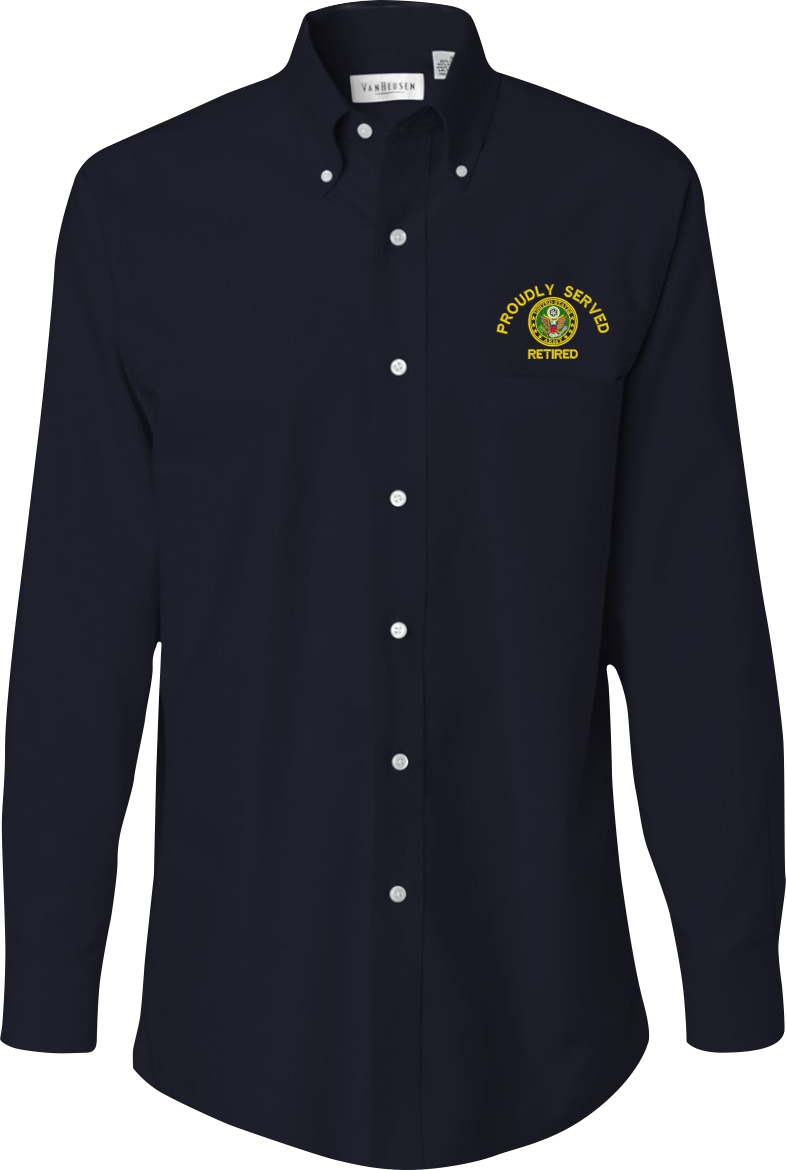 Custom embroidered u s army oxford shirt for Custom long sleeve button down shirts