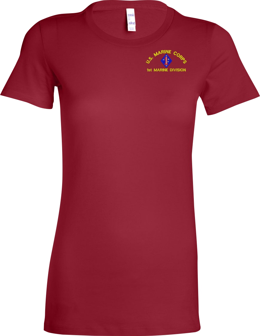 Custom embroidered u s marine corps ladies t shirt for Custom t shirts and embroidery