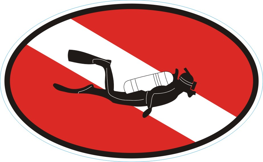 Diver down oval decal
