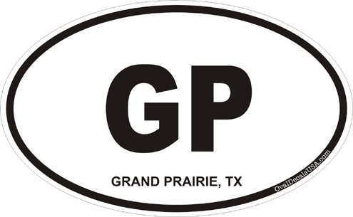 Grand prairie texas oval decal