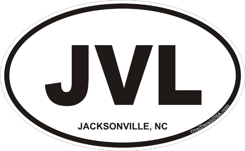 Jacksonville north carolina oval decal
