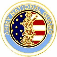 LARGE ARMY NATIONAL GUARD <BR>MILITARY LAPEL PIN