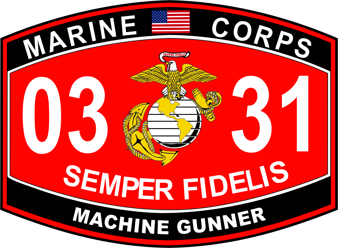 Machinegunner Marine Corps MOS 0331 Decal