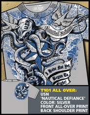 Navy Nautical Defiance Silver Full Print T Shirt