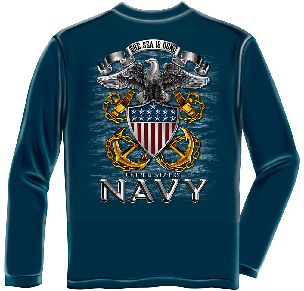 Navy The Sea Is Ours Long Sleeve T Shirt