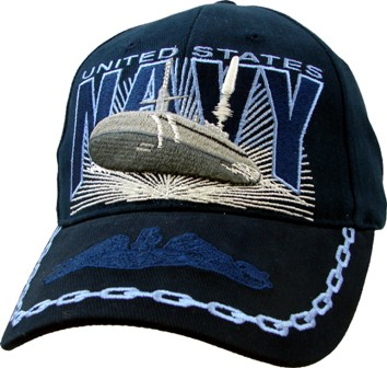 Navy Usn With Submarine Embroidered Ball Cap