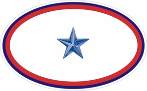 One Blue Star Service Banner Oval Decal