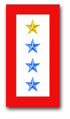 'ONE GOLD AND THREE BLUE STAR' SERVICE FLAG VINYL TRANSFER DECAL
