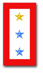 'ONE GOLD AND TWO BLUE STAR' SERVICE FLAG VINYL TRANSFER DECAL