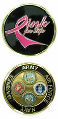 Pink for Life Army Navy AF Marines Challenge Coin