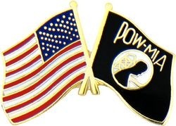 POW MIA American Flag Crossed Lapel Pin