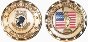 POW / MIA 'You Are Not Forgotten ,,, America Will Remember' Challenge Coin