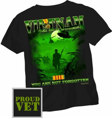 Proud Veteran Vietnam Black T Shirt