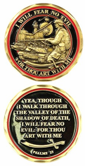 Psalms 23 Fear No Evil Challenge Coin