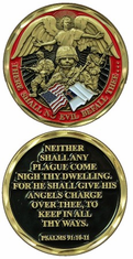 Psalms 91:10-11 Challenge Coin