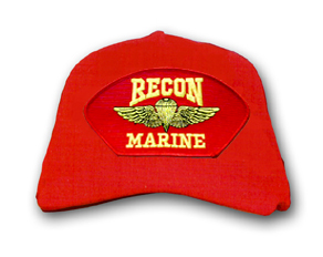 'Recon Marine' with Parachute Wings Marine Corps Red Ball Cap