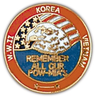 Remember All our POW MIA's WWII, Korea, Vietnam Lapel Pin
