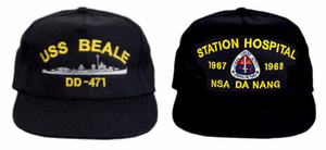 SHIPS LIST FOR CUSTOM EMBROIDERED U.S. NAVY CAPS AND SHIRTS