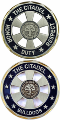 """The Citadel Bulldogs """"cut-out"""" Challenge Coin"""