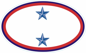 Two Blue Star Service Banner Oval Decal