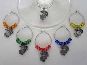 U.S. Marine Corps Wine Glass Charms