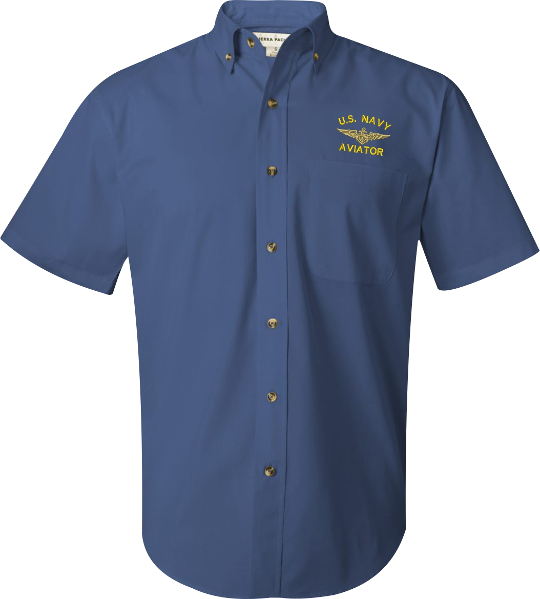U s navy custom embroidered short sleeve button down for How to embroider a shirt