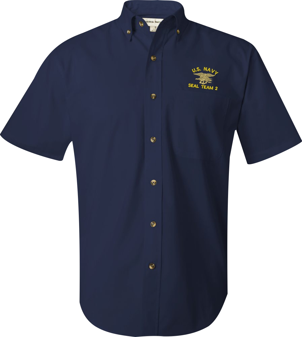 U s navy custom embroidered short sleeve button down for Button down uniform shirts