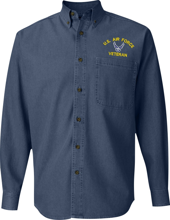 States Air Force Custom Embroidered Denim Button Down Shirt