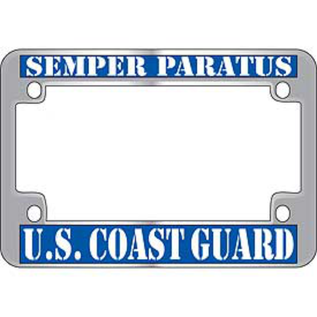 United States Coast Guard Chrome Motorcycle License Plate Frame